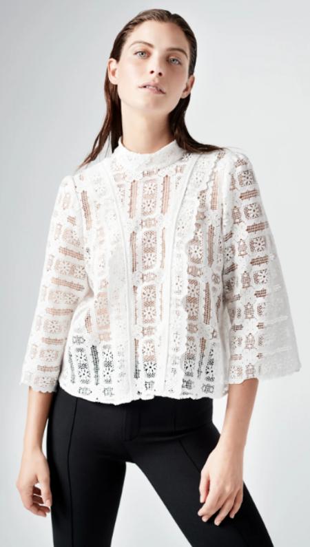 Smythe Scalloped Crochet Top - White