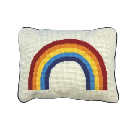 Aloha Zen Rainbow Needlepoint Pillow - White/Multi