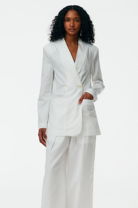 Tibi The Leisure Suit Tuxedo Blazer - White