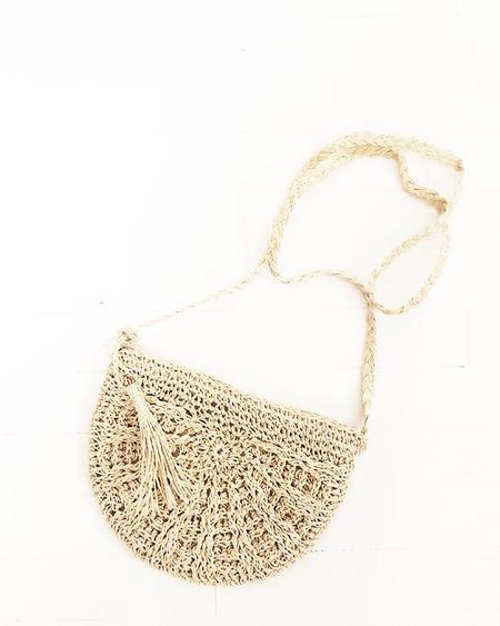 PERSONS Semicircle Straw Crossbody Bag - Natural