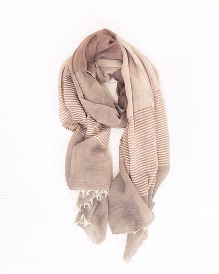 PERSONS Color-Blocked Cotton Scarf - Wheat