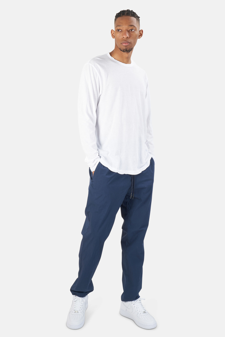 Henleys James Perse Shirttail Hem Crew LS T-Shirt - White