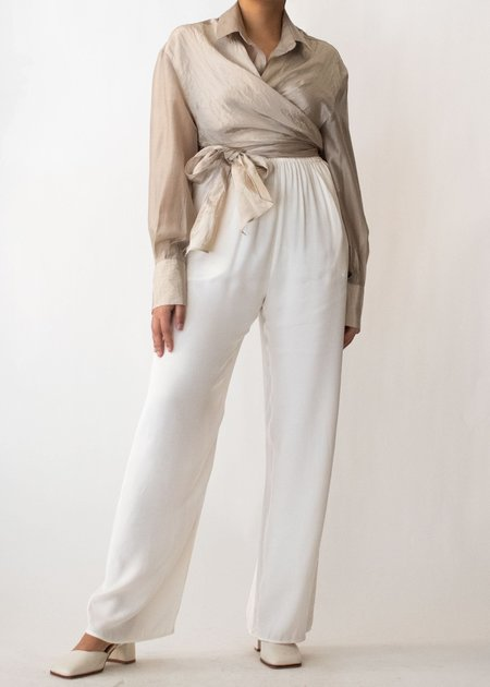 W A N T S Front Wrap Shirt - Light Taupe