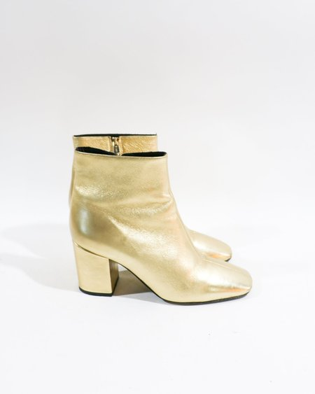[Pre-loved] Anine Bing Metallic Leather Ankle Boots - Gold/Black