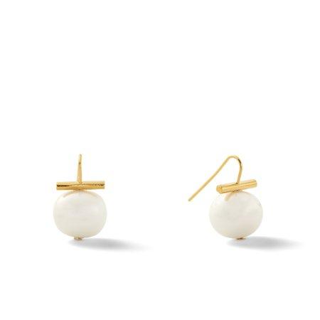 Catherine Canino Medium Pebble Pearl Earring - 18K Matte gold