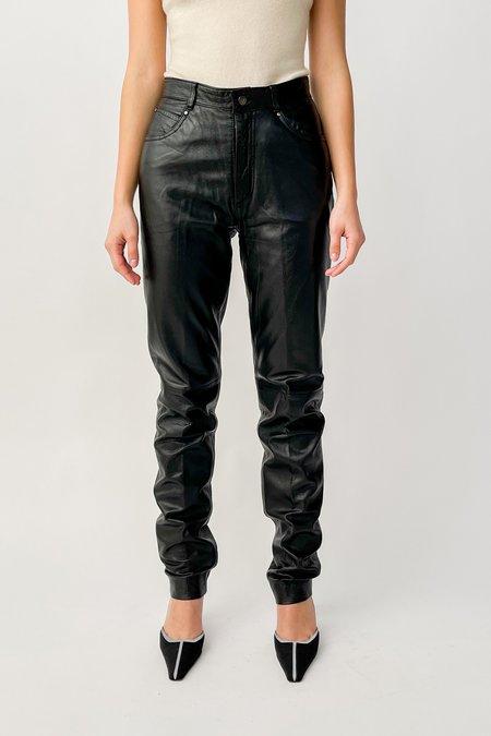 Vintage High Rise Leather Pants - Black