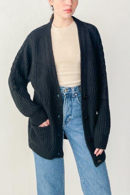 Vintage Mohair Cardigan Sweater - Black