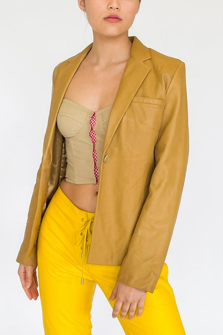 Vintage Leather Blazer - Honey