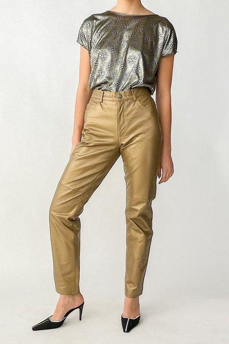 Vintage Hugo Buscati Metallic Leather Pants - Gold
