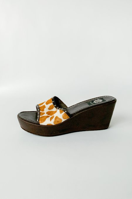 Vintage Pony Hair Wedges - Sienna Cow Print