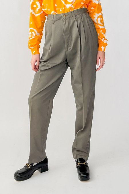 Vintage High Rise Pleated Trousers - Taupe