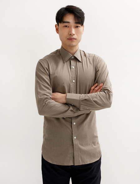E Tautz Classic Shirt 485 Collar Taupe