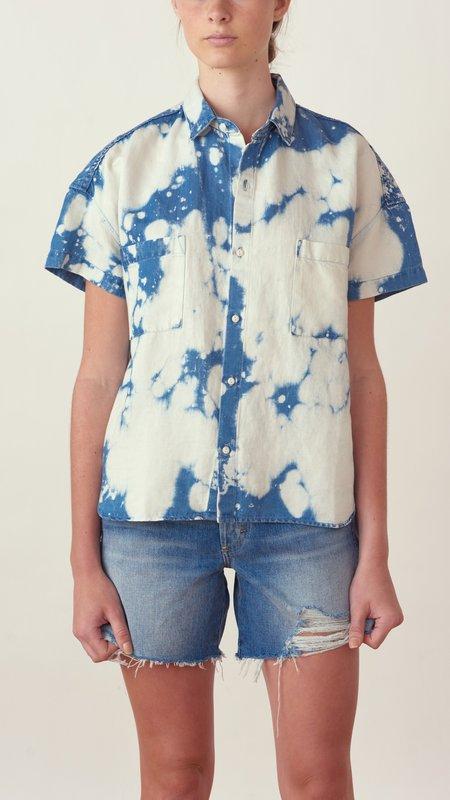 amo denim Boxy Shirt - Sky Tie Dye
