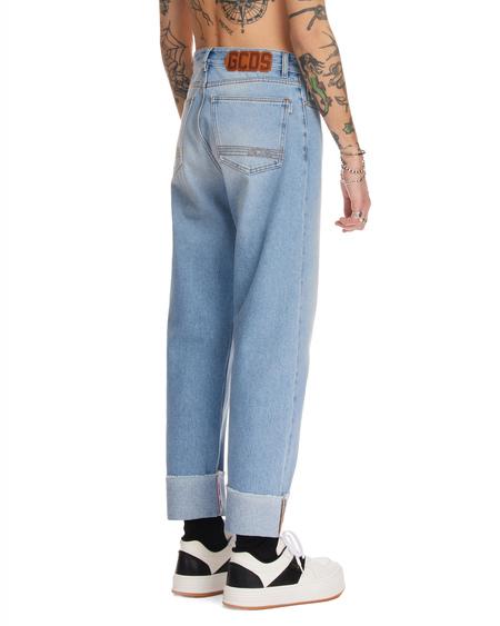 GCDS Logo Cuffed Wide Jeans - Blue