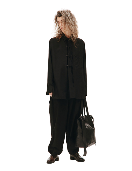 Y's Rayon Shirt With Chest Pocket - Black