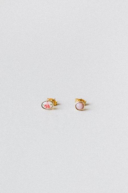 Grainne Morton ENAMEL ROSE AND PINK OPAL MISMATCHED STUD EARRINGS - 18k/ct gold