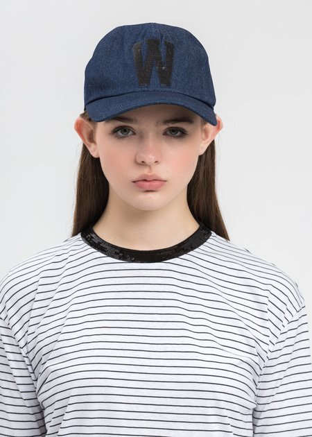 we11done Sequins Patch Embroidered Cap - Blue
