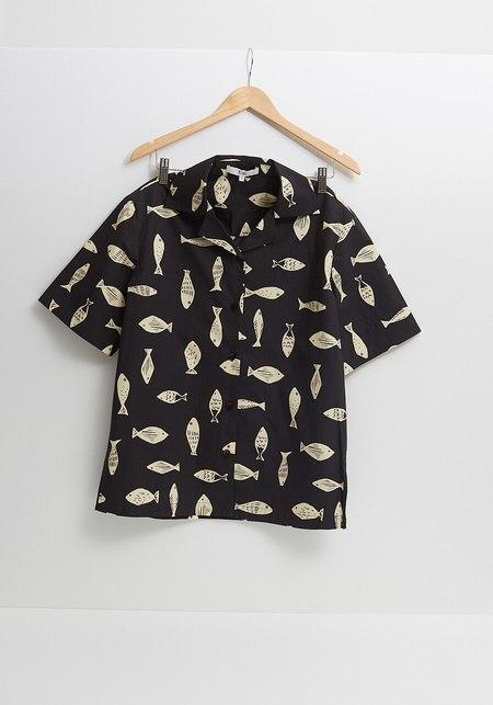 Tibi Camp Shirt - Grey Poisson Print