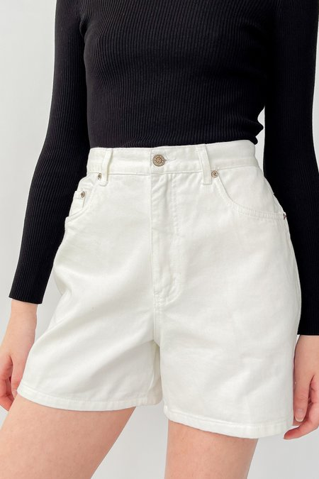 Vintage High Rise Denim Shorts - White