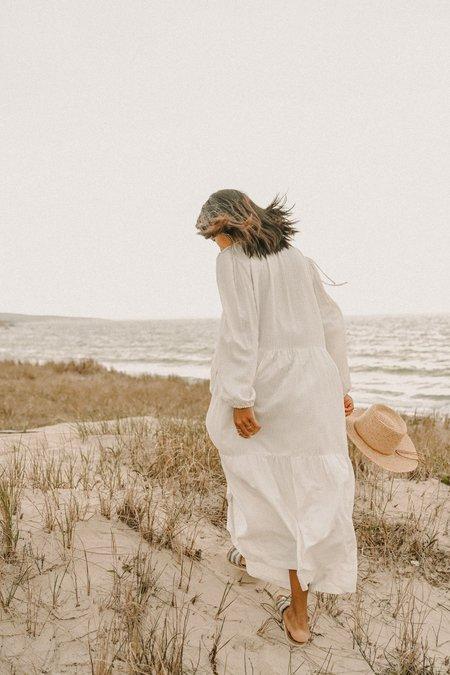 Conrado Paula Puff Sleeve Tiered Dress - White