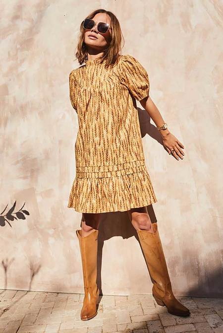 NEVER FULLY DRESSED Harvest Cotton Poplin Dress - Wheat