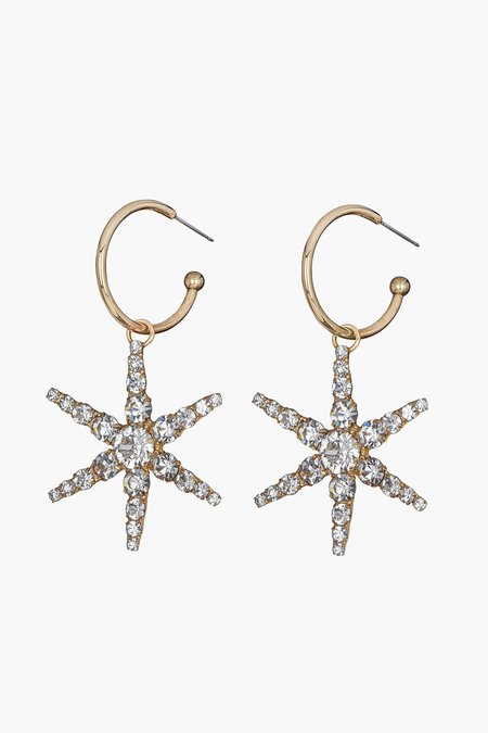 Jennifer Behr Ciel Drops from Hoop Earrings - brass/Swarovski crystal