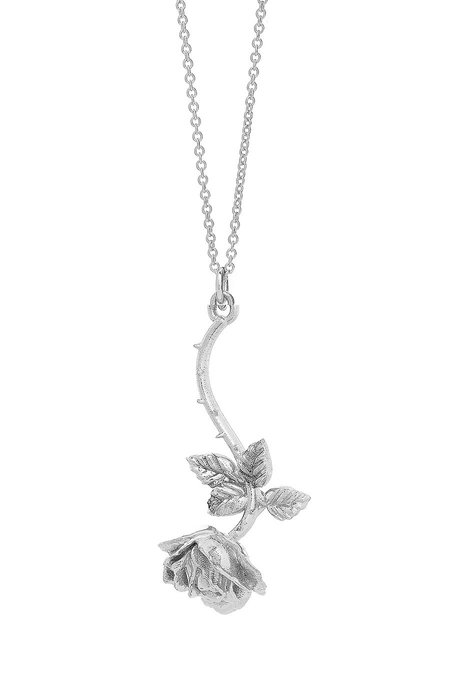 Talon  Hanging Rose Pendant necklace - Sterling Silver