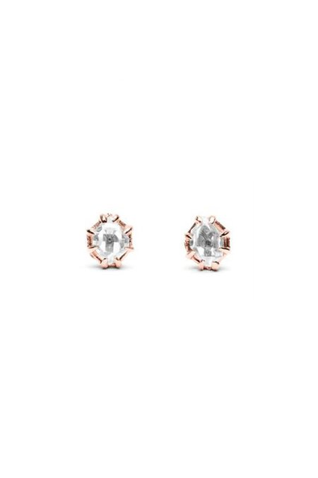 Angela Monaco Raw Stud Earrings - Rose Gold/Herkimer Diamond