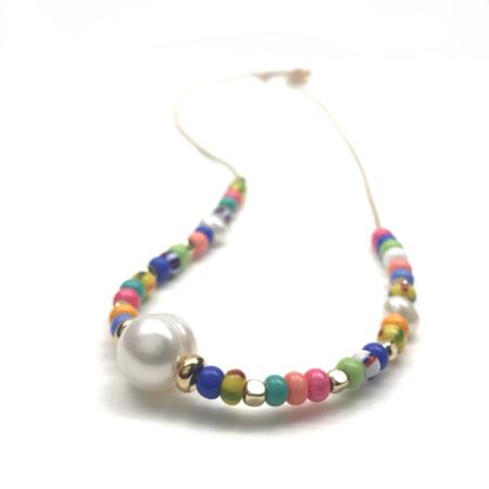 Slate Pearl & Bead Leather Necklace - Multi