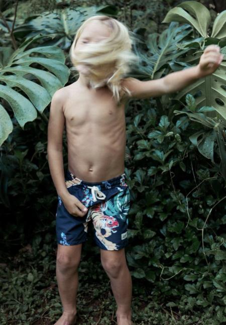 Kids Bather Swim Trunk - Black Hawaiian Tiger