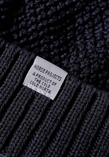 Norse Projects Moss Stitch Beanie - dark navy