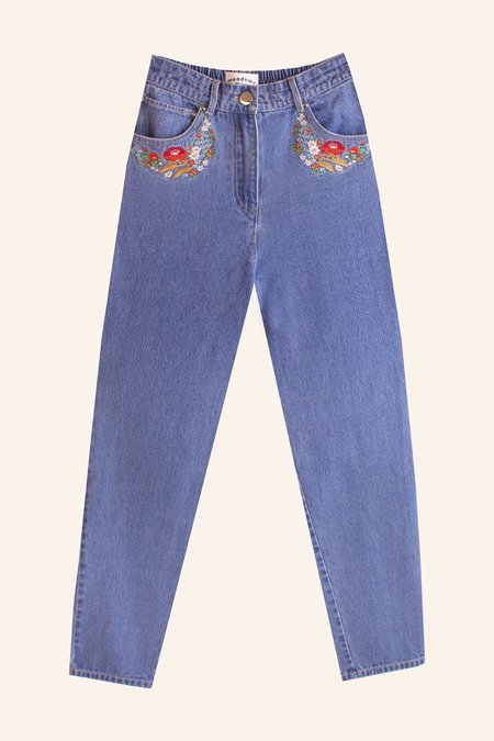 Meadows Begonia Jeans - Multi Embroidery