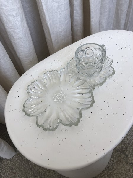 Vintage FLORAL SNACK DISH - clear