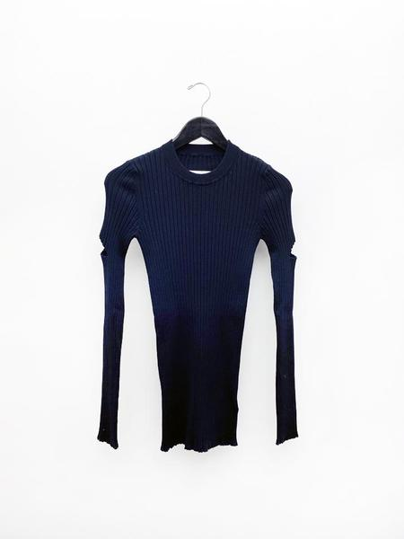 MM6 Maison Margiela Ribbed Cut Out Sweater - navy