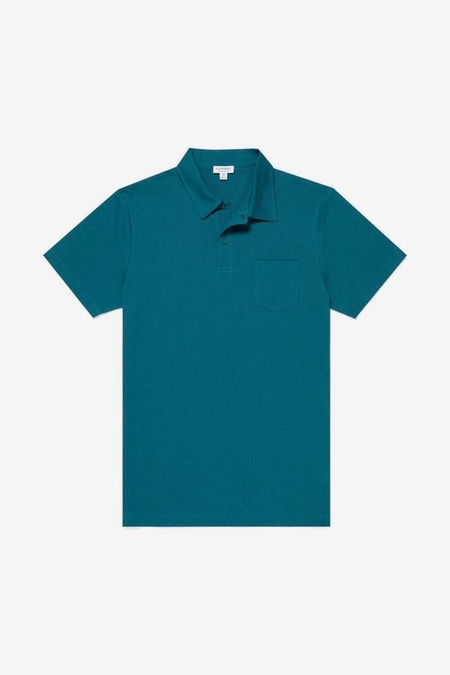 Sunspel Ss Polo Shirt - Bright Petrol