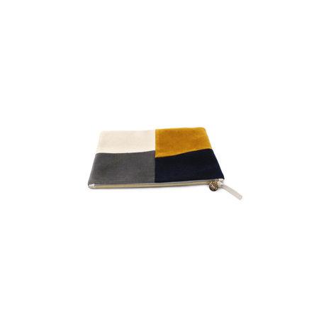 Clare V. Velvet Patchwork Grid Flat Clutch