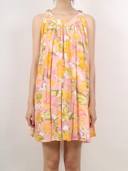 Vintage 60s tulip crepe mini dress - pastel floral