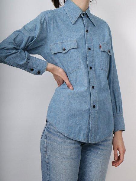 Vintage levi's button down orange tab shirt - denim blue