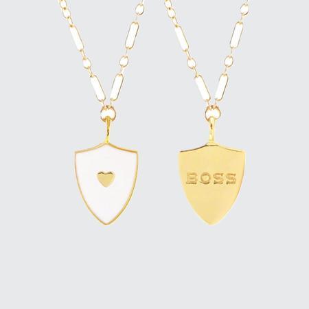Kris Nations Boss Merit Badge Necklace - WHT