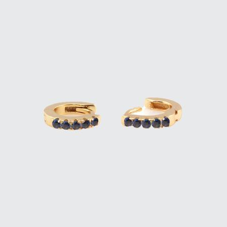 Kris Nations Pave Huggie Hoop Earrings - SAPPHIRE
