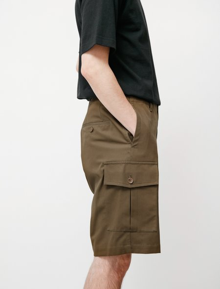 Niuhans Compact High Twisted Cotton Cargo Shorts - Olive