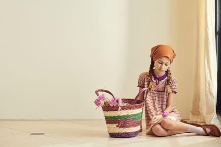 Kids Caramel Narwhale Dress - Lavender Stripe
