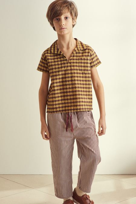 Kids Caramel Squid Trousers - Brown Stripe