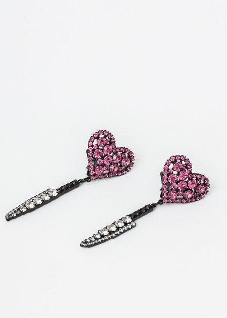 Ashley Williams Heart Knife Earring - BRASS/CZECH CRYSTAL
