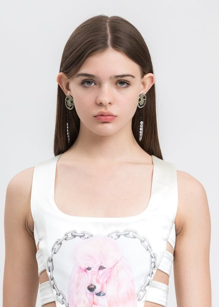 Ashley Williams Smiley Knife Earring - BRASS/CZECH CRYSTAL