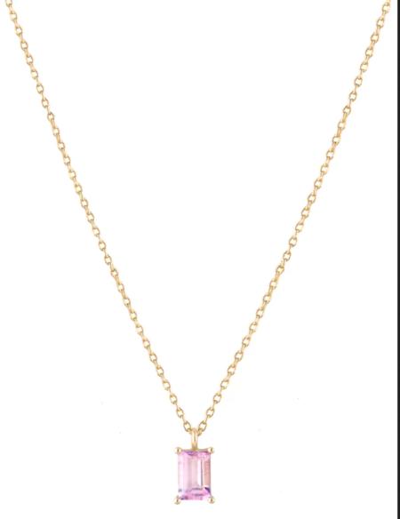 Trois Petits Points Baguette Necklace - 18kt Gold/Pink Tourmaline
