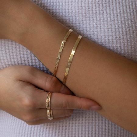 Leah Alexandra Braided Herringbone Bracelet - 10KT Gold