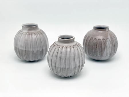 A.Cheng Carved Pod Vases - grey