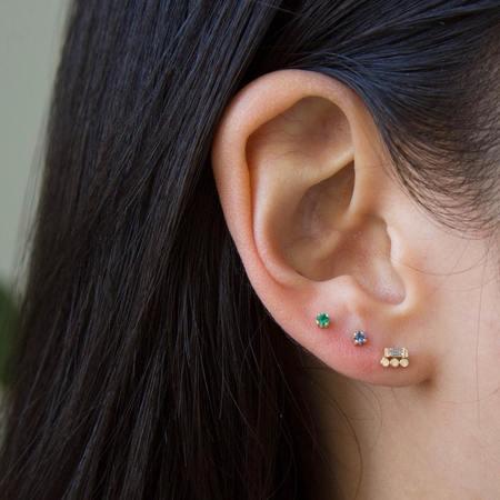 Jennie Kwon Designs Emerald Princess Cut Studs - 14KT gold