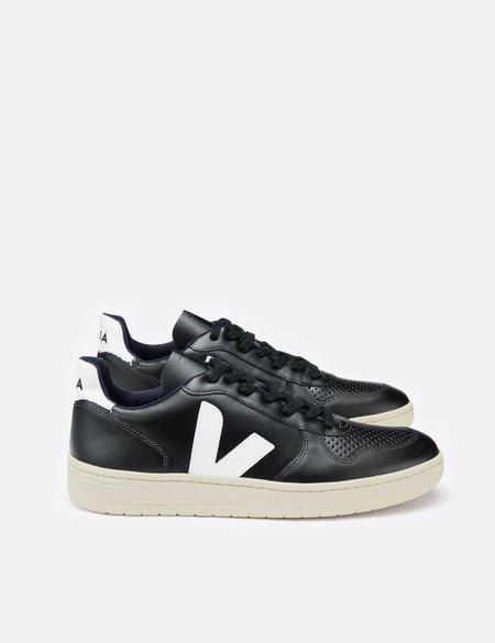 Veja V-10 Leather Trainers - Black/White